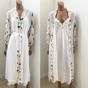 Val Mode vintage white floral nightgown robe set M